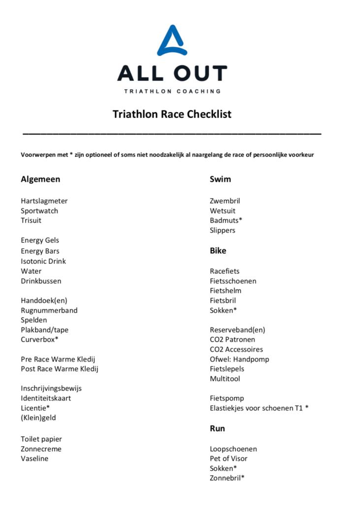 Triathlon Race Checklist