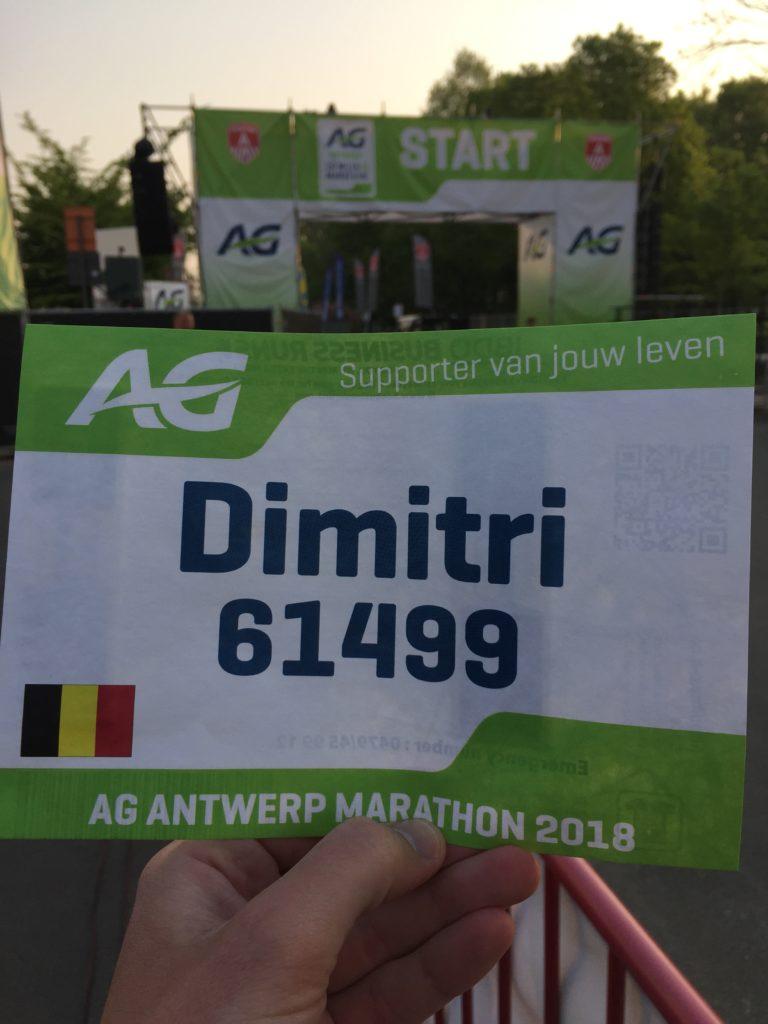 Startnummer Marathon Antwerpen